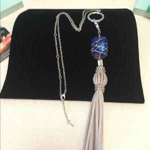 Wrapped Swarovski AB Blue Crystal, Grey Tassel